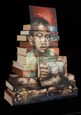 Mixed Media Pyrography Painting - Anything But Reading by Paul Michael Wright