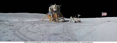 Landmarks Painting Royalty Free Images - Apollo 16 Of The Lunar Rover, nasa  orion landing site Royalty-Free Image by Celestial Images