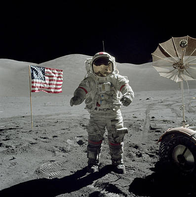 Space Exploration Photograph - Apollo 17 Astronaut Stands by Stocktrek Images