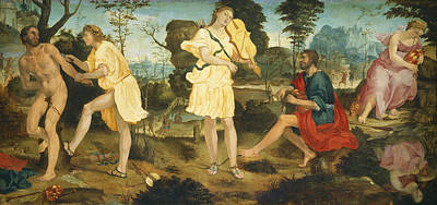 Greek Gods Painting - Apollo And Marsyas by Michelangelo Anselmi