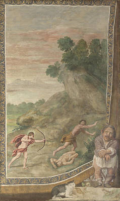 Cyclops Digital Art - Apollo Killing The Cyclops by Domenichino and assistants