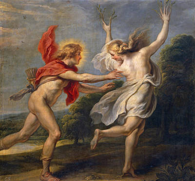 Zeus Painting - Apollo Pursuing Daphne by Cornelis de Vos