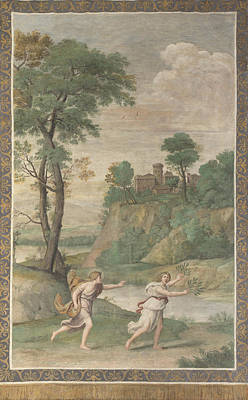 Digital Art - Apollo Pursuing Daphne by Domenichino and assistants