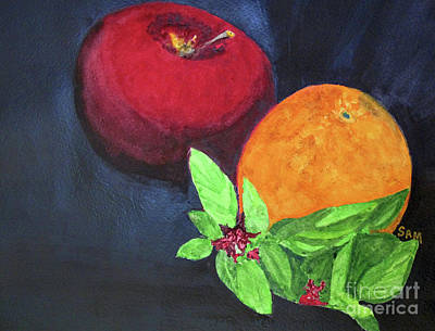 Painting - Apple, Orange And Red Basil by Sandy McIntire