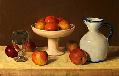 Painting - Apples, Water Glass And Porcelain Pitcher by Robert Holden