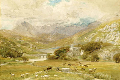 Drawing - Approaching Storm At Mymbyr Lakes Capel Curig. Wales by Ebenezer Wake Cook