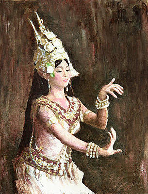 Cambodian Painting - Apsara-i by Vongduane Manivong