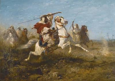 Arab Painting - Arab Warriors by Adolf Schreyer