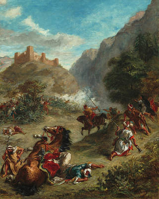 Turkish Painting - Arabs Skirmishing In The Mountains by Eugene Delacroix
