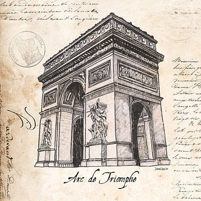 Pen And Ink Painting - Arc De Triomphe by Debbie DeWitt