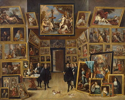 David Painting - Archduke Leopold Wilhelm At His Picture Gallery In Brussels by David Teniers the Younger