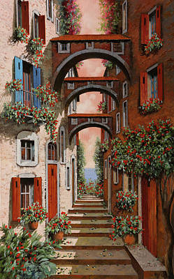Red Door Painting - Gli Archetti Rossi Nuovi by Guido Borelli