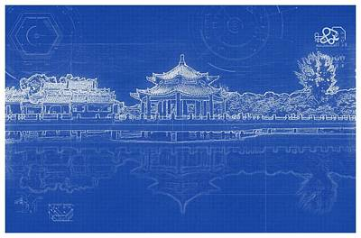 Painting - Archtectural Blueprint Drawing - Chinese Temple by Celestial Images