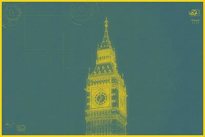 Painting - Archtecture Blueprint - Bigben Tower, London 2 by Celestial Images