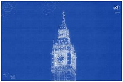 Painting - Archtecture Blueprint - Bigben Tower, London by Celestial Images