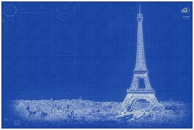 Painting - Archtecture Blueprint - Eiffel Tower, Paris France by Celestial Images