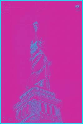 Painting - Archtecture Blueprint - Statue Of Liberty 2 by Celestial Images