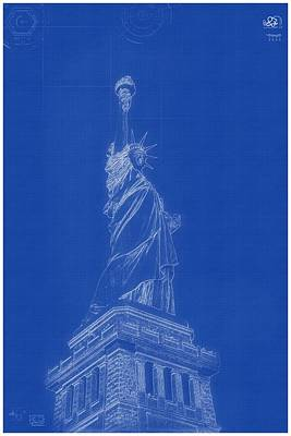 Painting - Archtecture Blueprint - Statue Of Liberty by Celestial Images