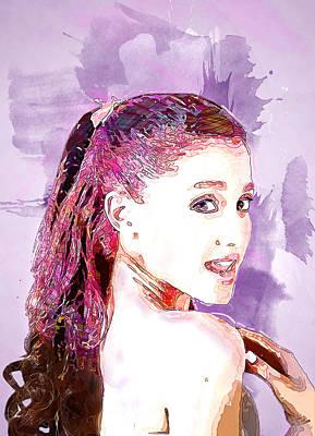 Singer Digital Art - Ariana Grande by Elena Kosvincheva