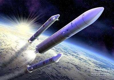 Ariane 5 Launch Of Envisat, Artwork Art Print by David Ducros