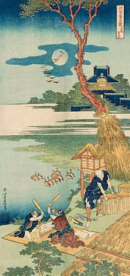 Mirror Painting - Ariwara Narihira by Katsushika Hokusai