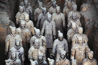 Chinese Warrior Photograph - Army Of Terracotta Warriors In Xian by Axiom Photographic