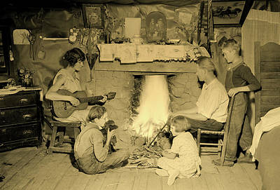 Photograph - Around The Fireplace - Norris Tennessee 1933 by U S N A