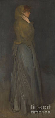 Full Skirt Painting - Arrangement In Yellow And Gray  Effie Deans by James Abbott McNeill Whistler
