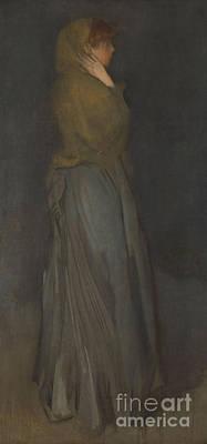 Dark Figure Painting - Arrangement In Yellow And Gray  Effie Deans by James Abbott McNeill Whistler