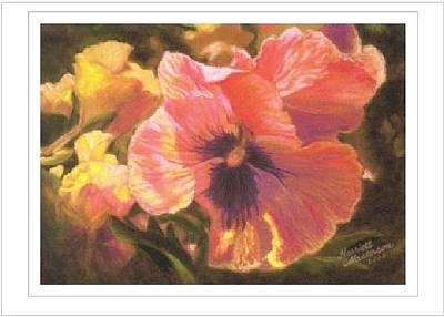 Pastel - Art Card - Caroline's Pansies by Harriett Masterson