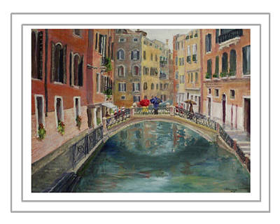 Painting - Art Card - Umbrellas In Venice by Harriett Masterson