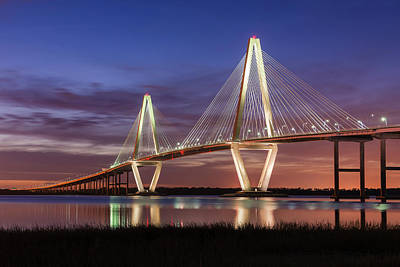 Arthur Ravenel, Jr. Bridge At Sunset Art Print by Justin Richardson