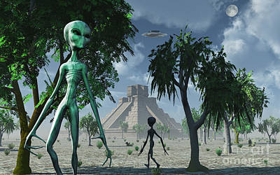 Artists Concept Of Aliens Helping Print by Mark Stevenson