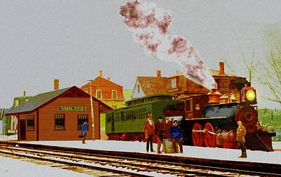Digital Art - Ashland Mass Rr Depot 1870s Full View by Cliff Wilson