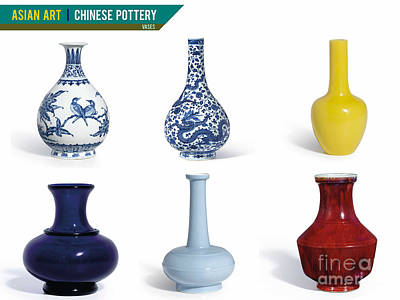 Photograph - Asian Art Chinese Pottery - Vases by Celestial Images