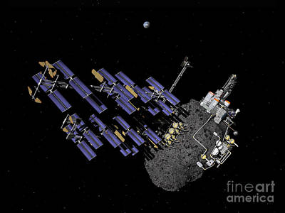 Planetoid Digital Art - Asteroid Mining Outpost by Walter Myers