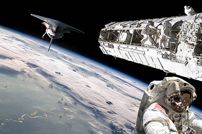 Luminous Globe Photograph - Astronauts Repair Space Station by Marc Ward
