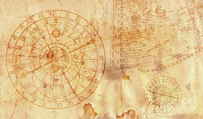 Zodiac Digital Art - Astronomical Clock In Grunge Style by Michal Boubin