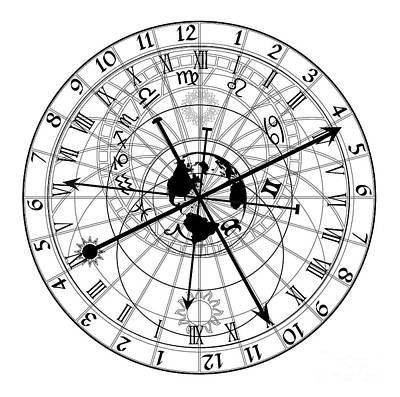 Esoteric Digital Art - Astronomical Clock by Michal Boubin