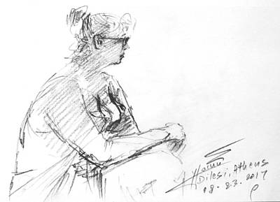 Lady Drawing - At The Beach by Ylli Haruni
