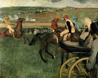 Race Horse Painting - At The Races by Edgar Degas