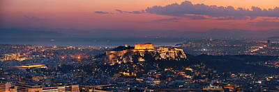 Photograph - Athens Skyline From Mt Lykavitos Panorama by Songquan Deng