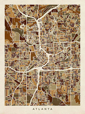 Atlanta Digital Art - Atlanta Georgia City Map by Michael Tompsett