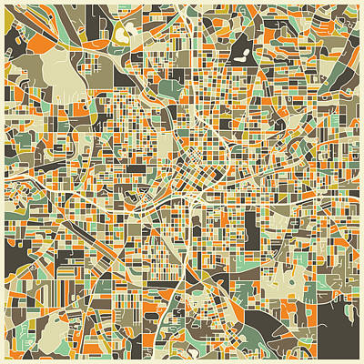 Colorful Abstract Digital Art - Atlanta Map by Jazzberry Blue