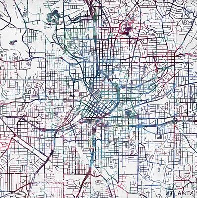 Atlanta City Painting - Atlanta Map by Map Map Maps