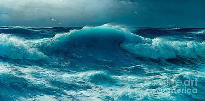 Crashing Wave Painting - Atlantic Roll by David James