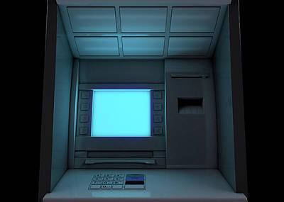 Financial Digital Art - Atm Facade Closeup Illuminated by Allan Swart