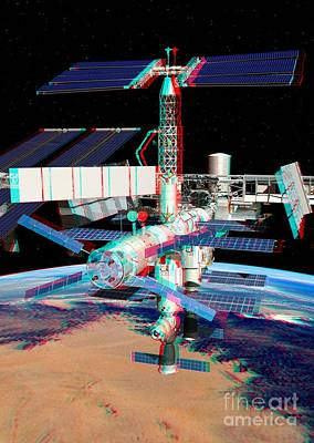 Atv Boosting The Iss, Stereo Image Art Print by David Ducros