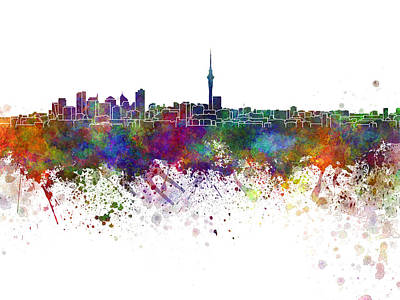 Oceania Painting - Auckland Skyline In Watercolor Background by Pablo Romero