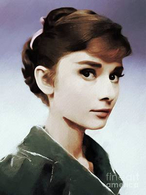 Actors Paintings - Audrey Hepburn, Actress by Mary Bassett